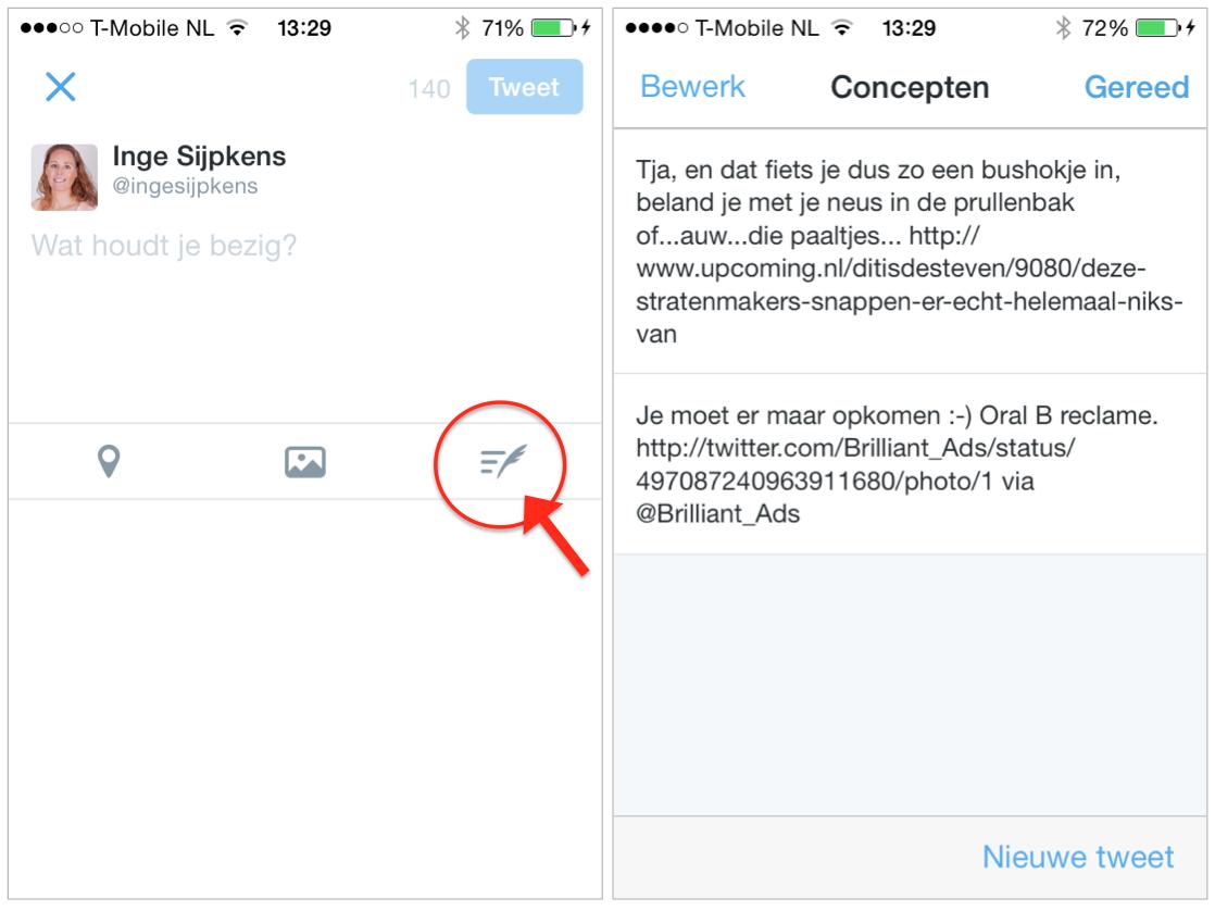 Concept-tweets terugvinden in de Twitter app