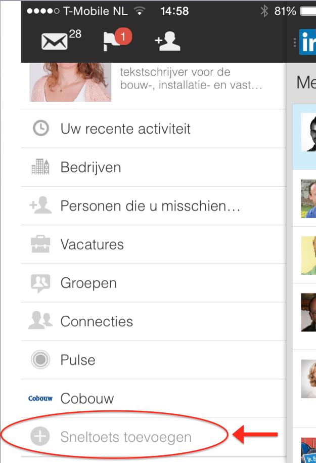 De sneltoets toevoegen in de LinkedIn app