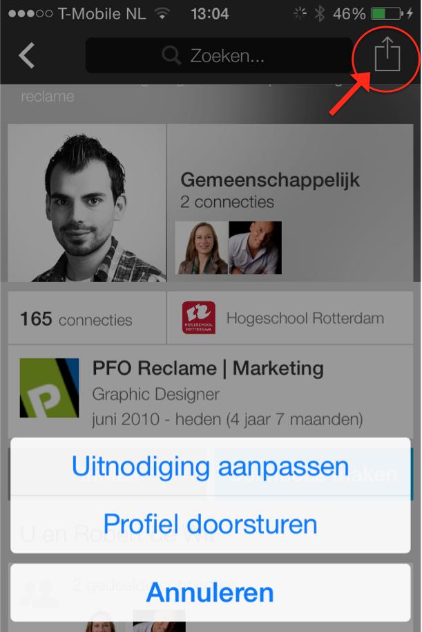 Persoonlijk contactverzoek sturen in de LinkedIn app