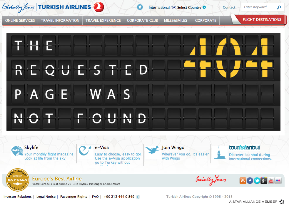 404-pagina van Turkish Airlines