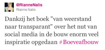 Tweet Rianne Nalis boek social media bouw