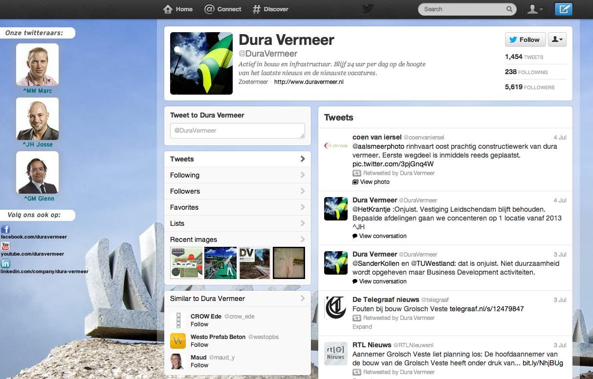 Twitterpagina Dura Vermeer
