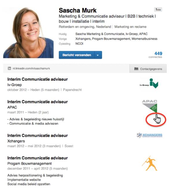 Voorbeeld logo bedrijf in profiel LinkedIn