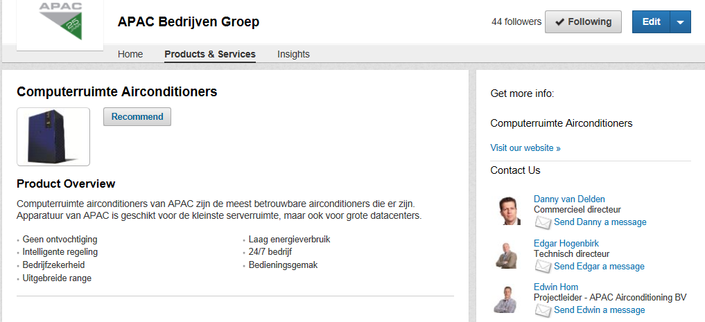 Voorbeeld product op LinkedIn Company Page