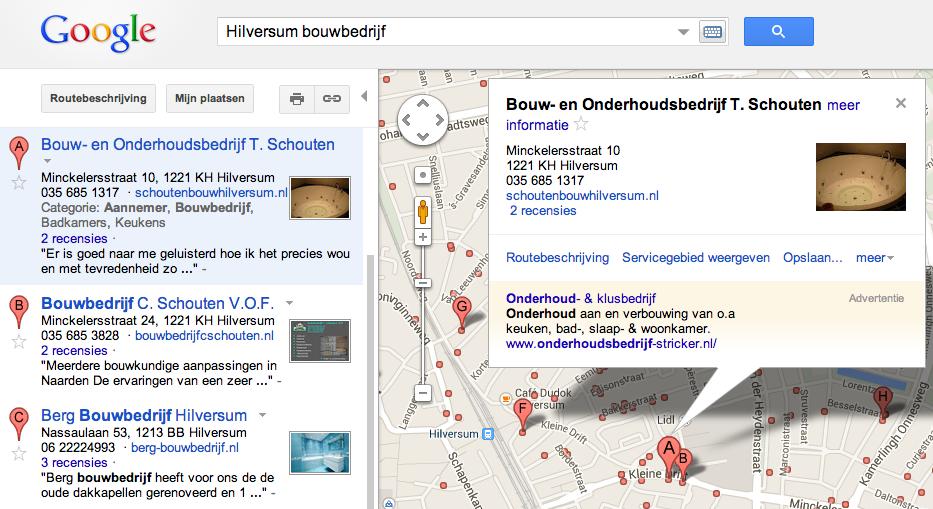 voorbeeld bouwbedrijf lokale vermelding Google+