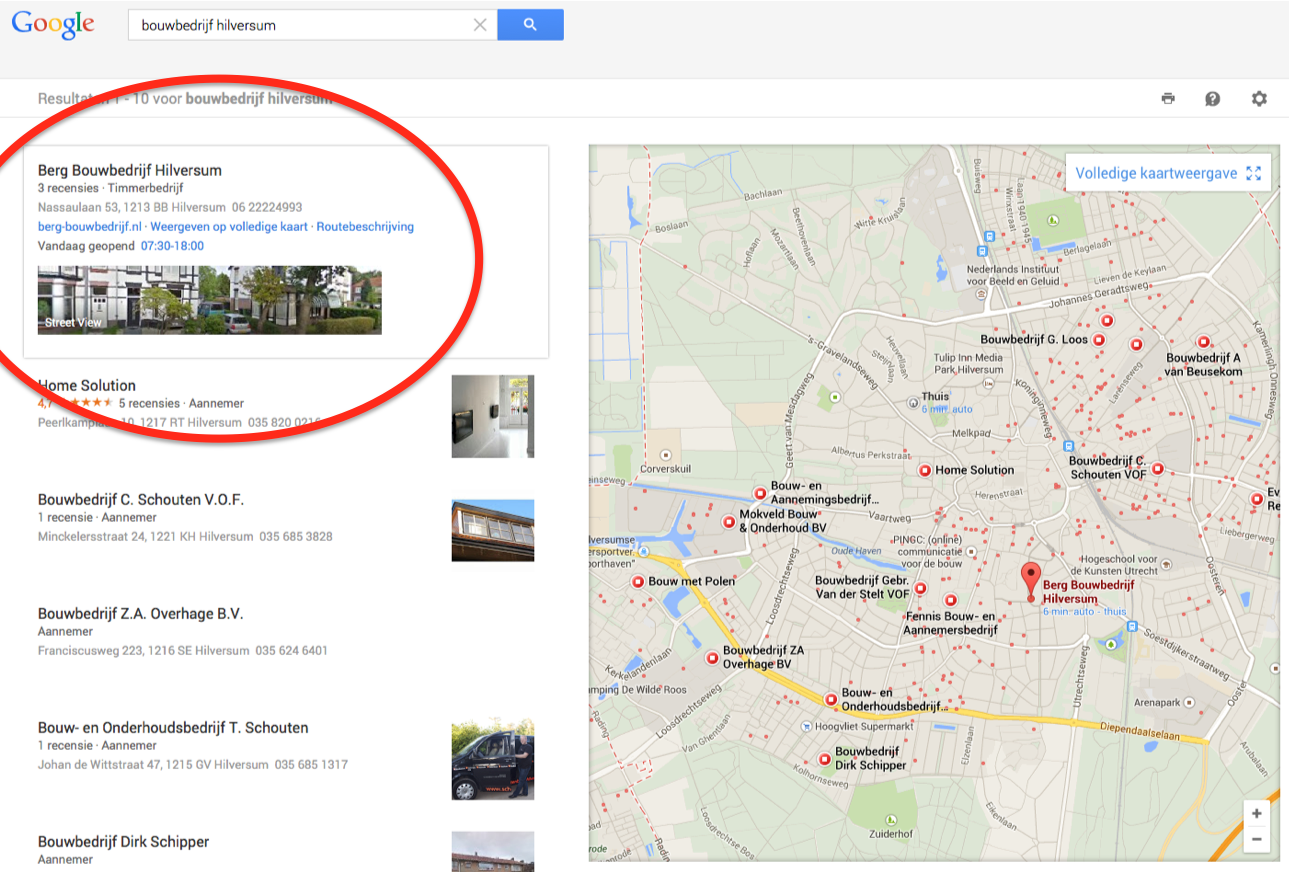 Voorbeeld Google Plus (Places) in de bouw
