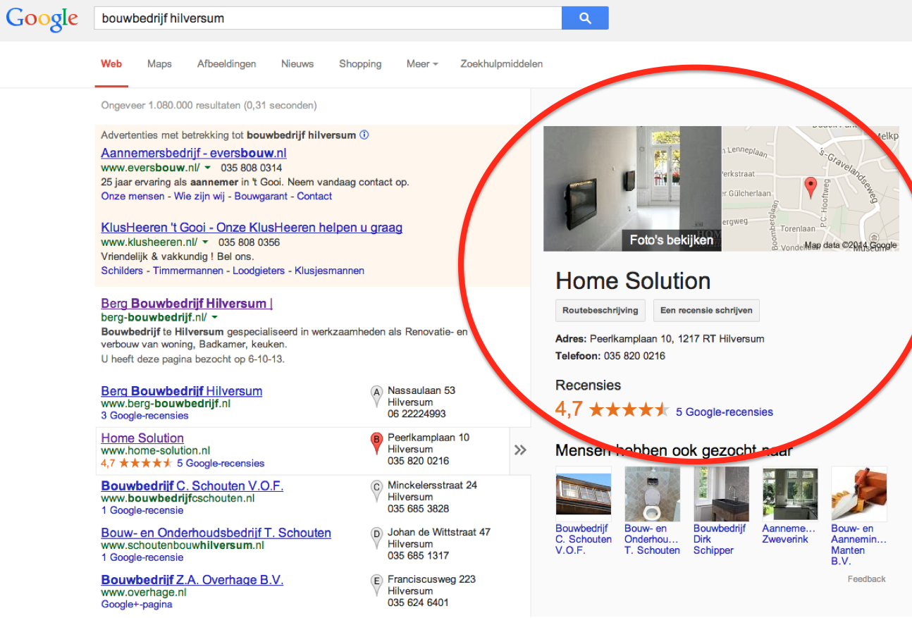 Voorbeeld Google Plus in de bouw (zoekresultaten)