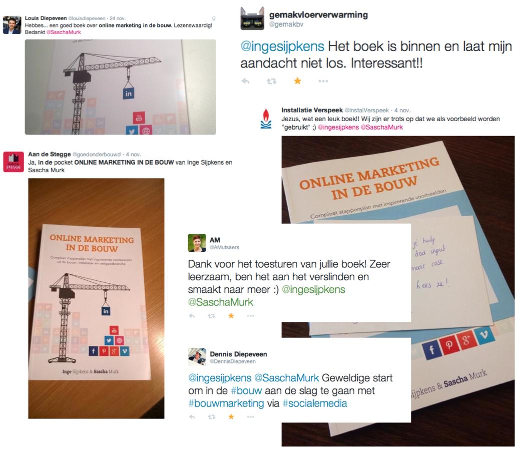 Online marketing in de bouw (boek) | reacties op Twitter