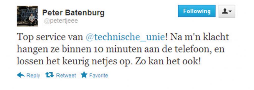 tweet Technische Unie